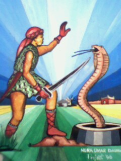 Illustration of Bayajidda killing the snake