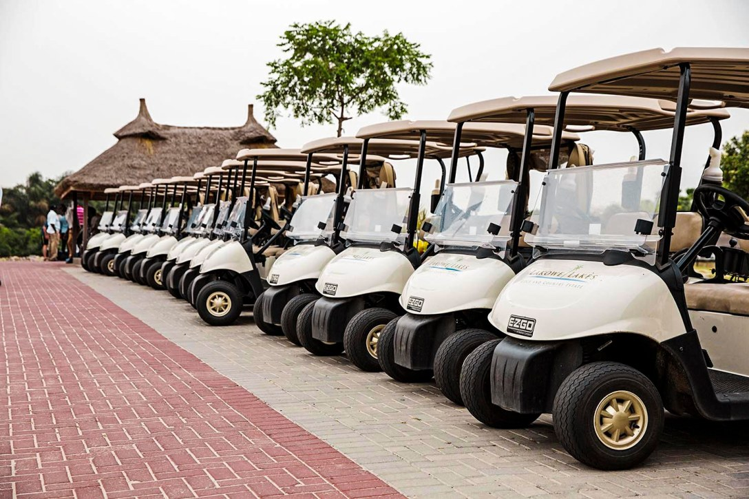 Golf carts at Lakowe Lakes